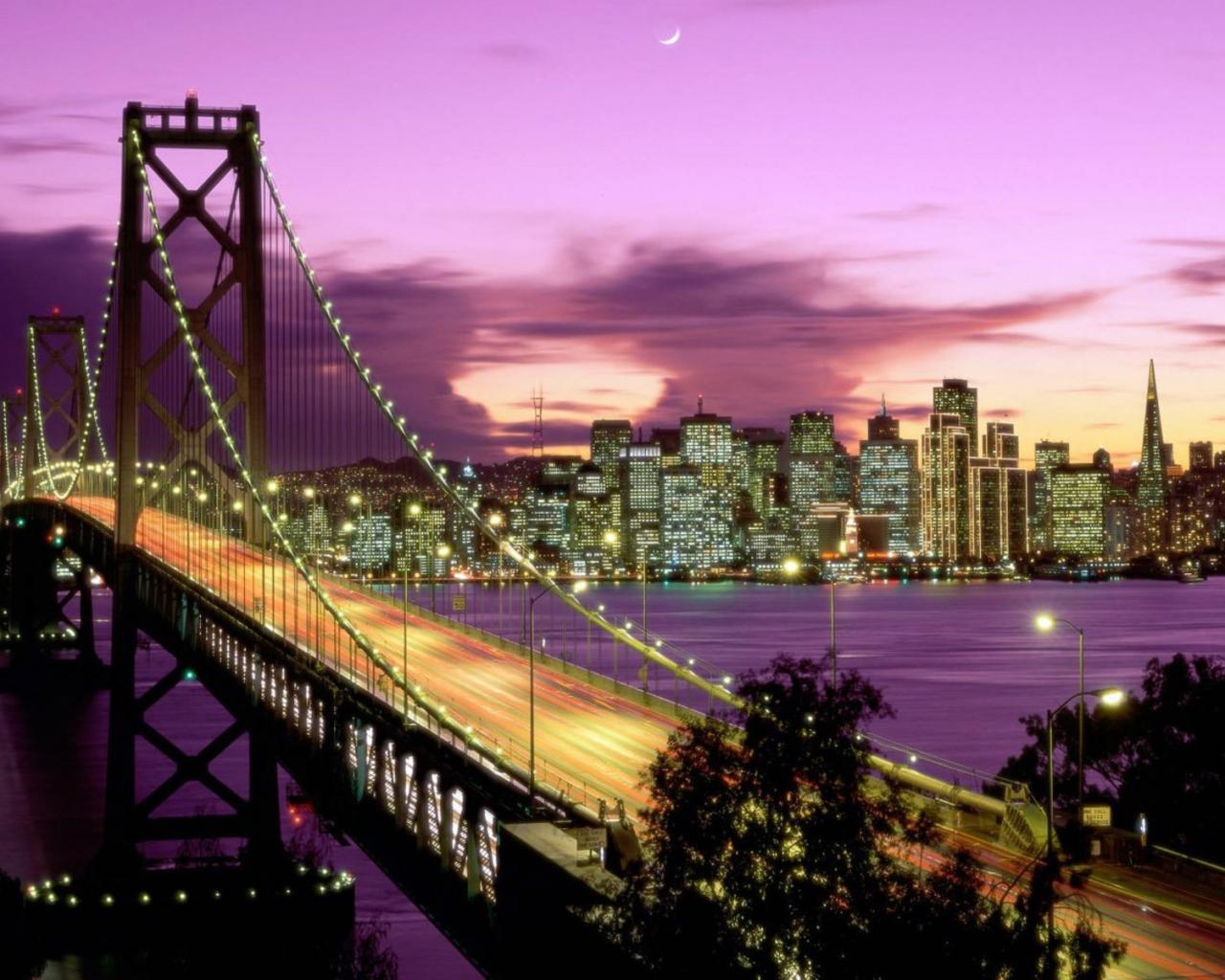 Vista nocturna de ciudad - 1280x1024