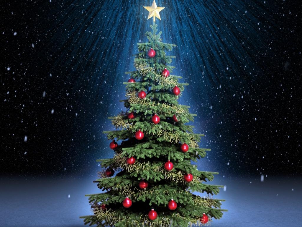 Arbol de navidad con fondo de estrellas - 1024x768