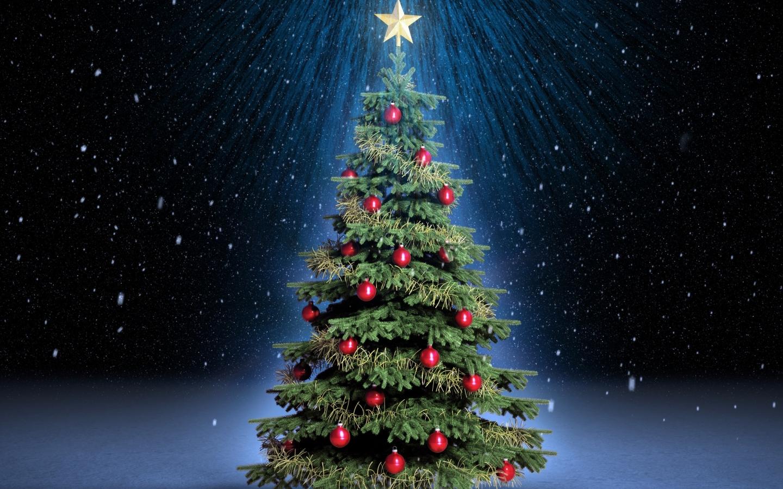 Arbol de navidad con fondo de estrellas - 1440x900