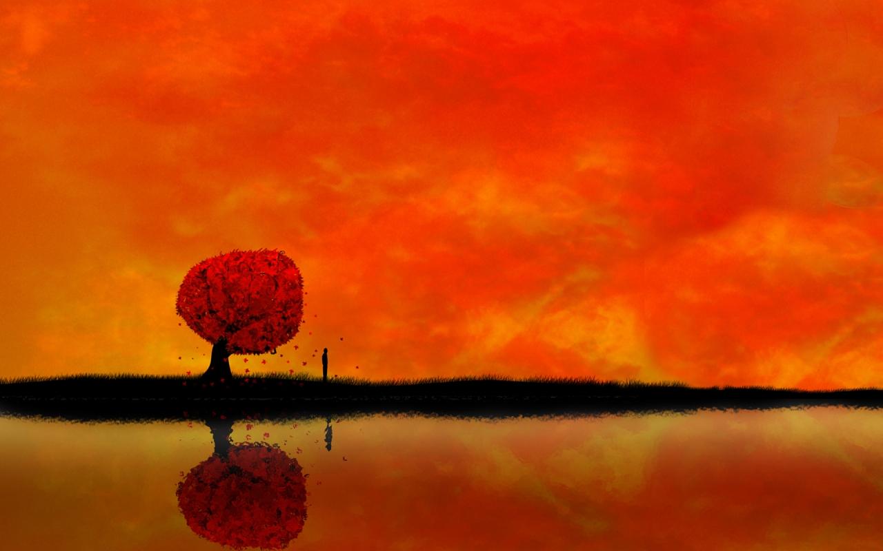 Atardecer digital paisaje - 1280x800