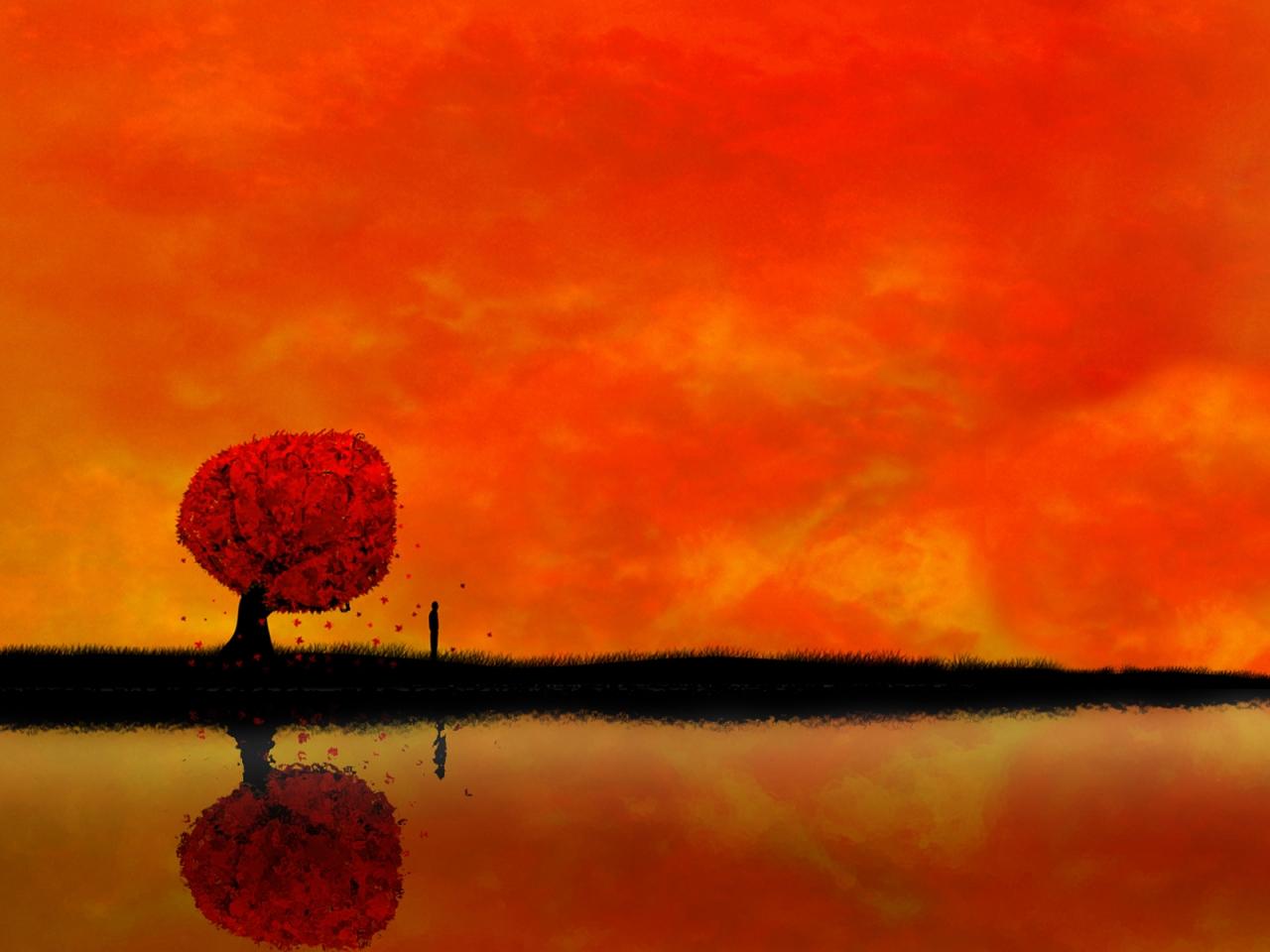 Atardecer digital paisaje - 1280x960