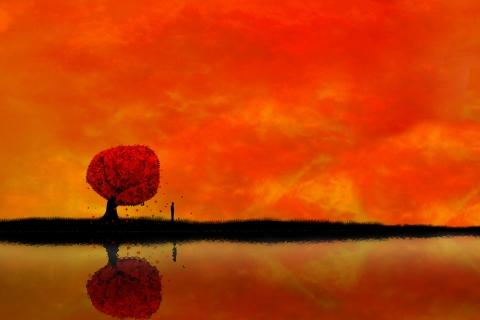 Atardecer digital paisaje - 480x320