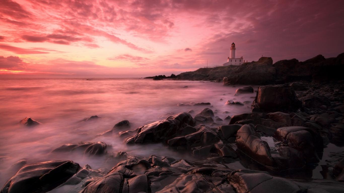 Atardeceres rosados de playas - 1366x768