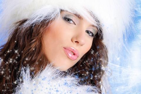 Bello rostro de mujeres en navidad - 480x320