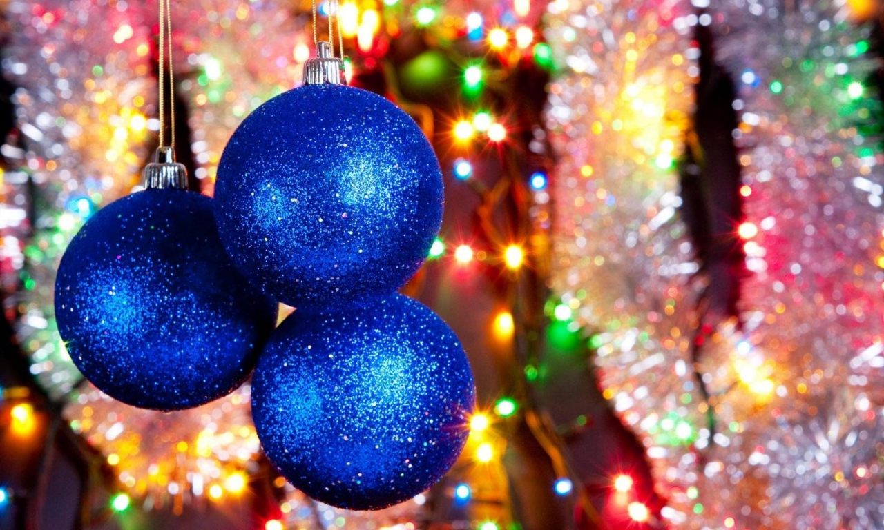 Bolas azules para arbol de navidad - 1280x768