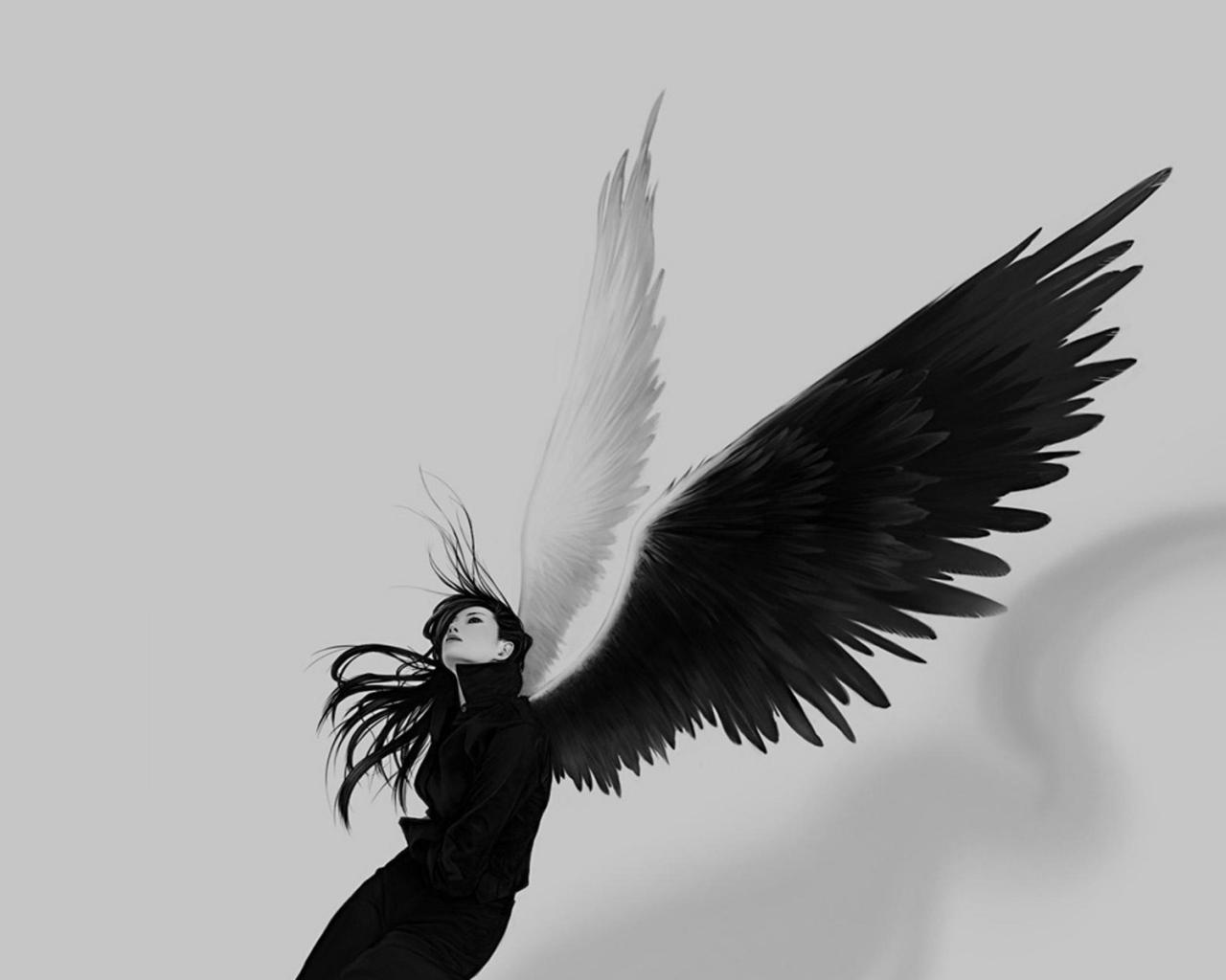 Chica con alas blanco y negro - 1280x1024