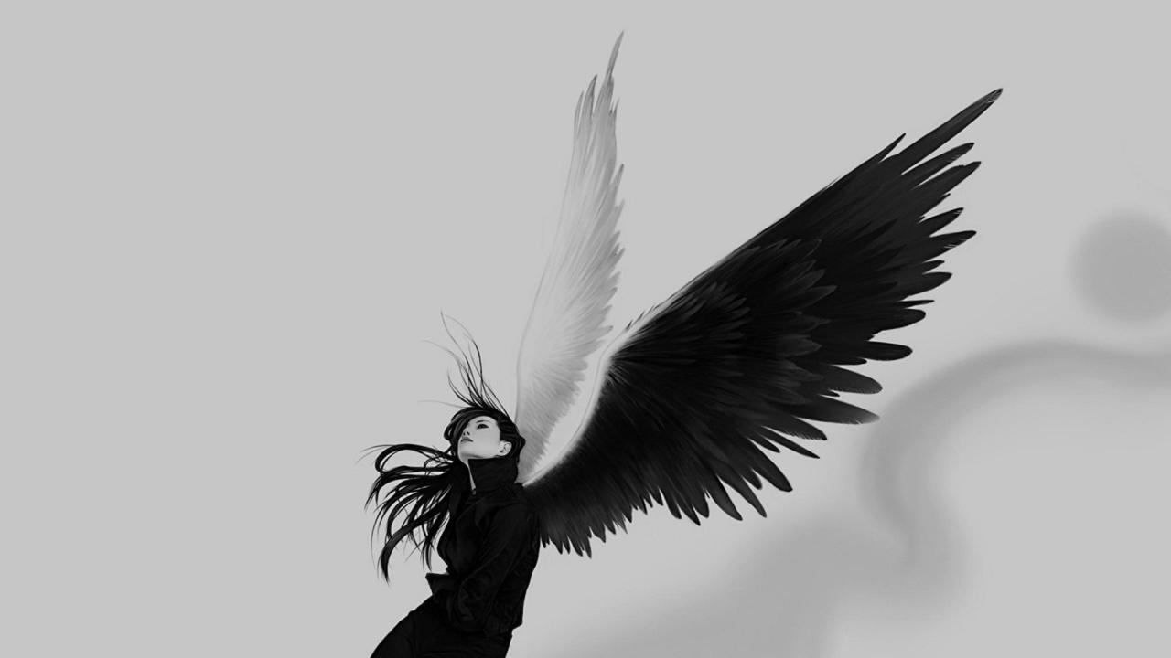 Chica con alas blanco y negro - 1280x720
