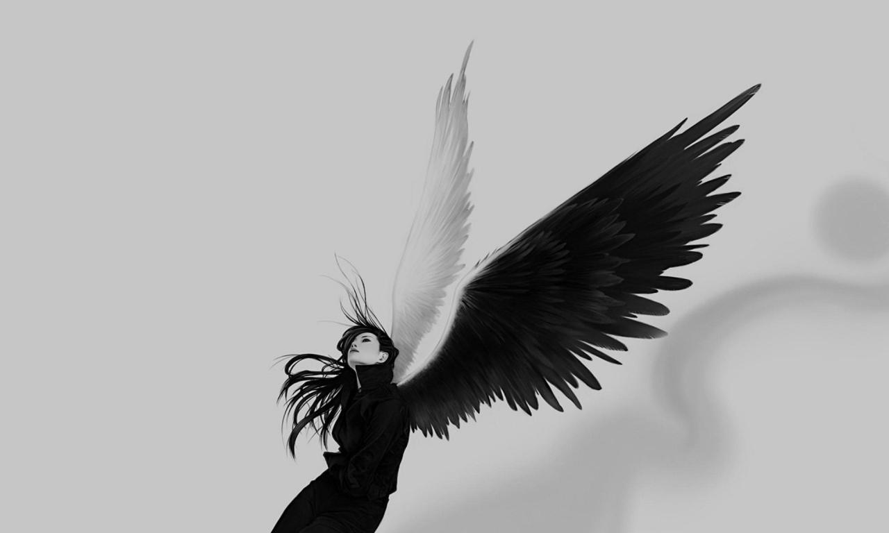 Chica con alas blanco y negro - 1280x768