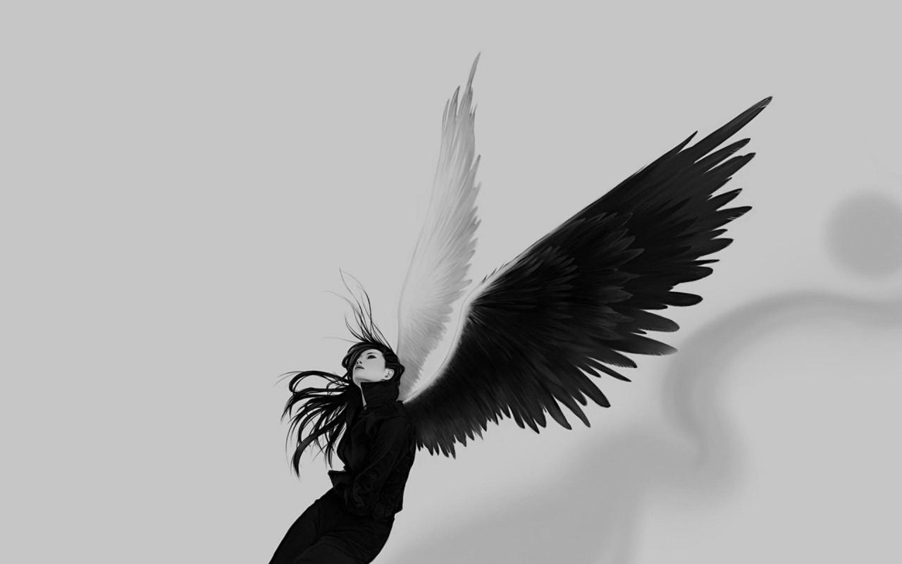 Chica con alas blanco y negro - 1280x800
