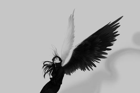 Chica con alas blanco y negro - 480x320