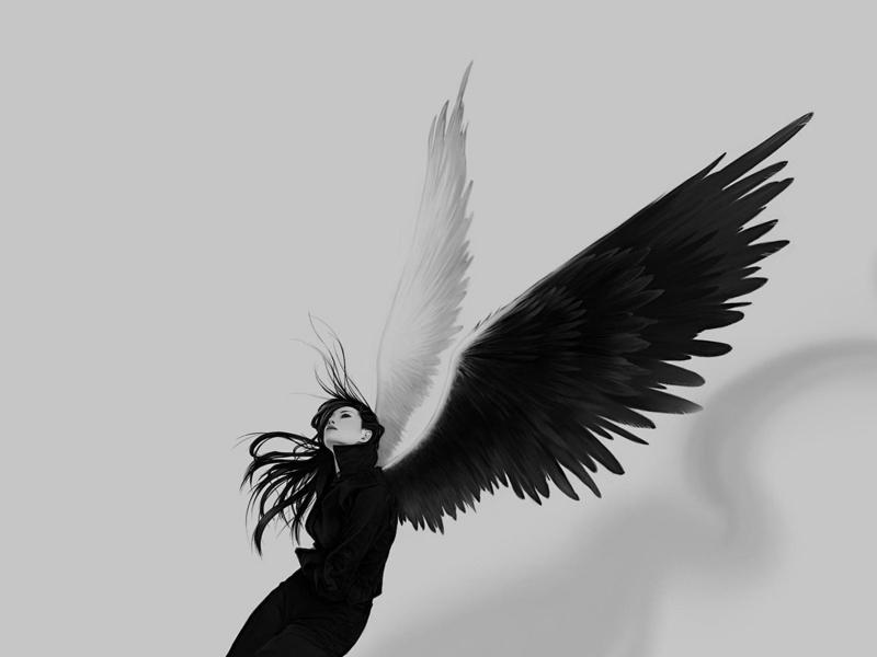 Chica con alas blanco y negro - 800x600
