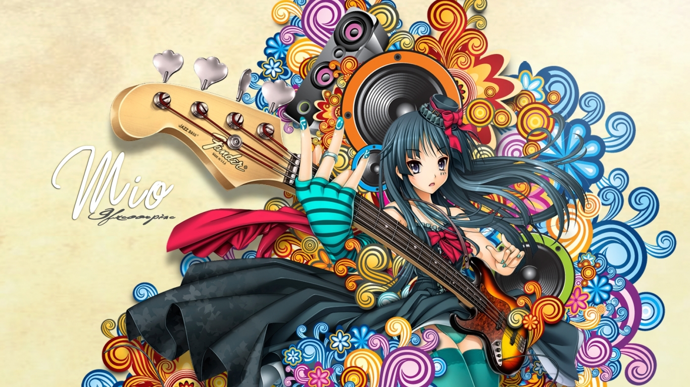 Chicas De Anime Y Guitarras Hd 1366x768