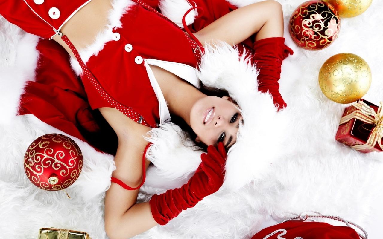 Chicas lindas con regalos para navidad - 1280x800