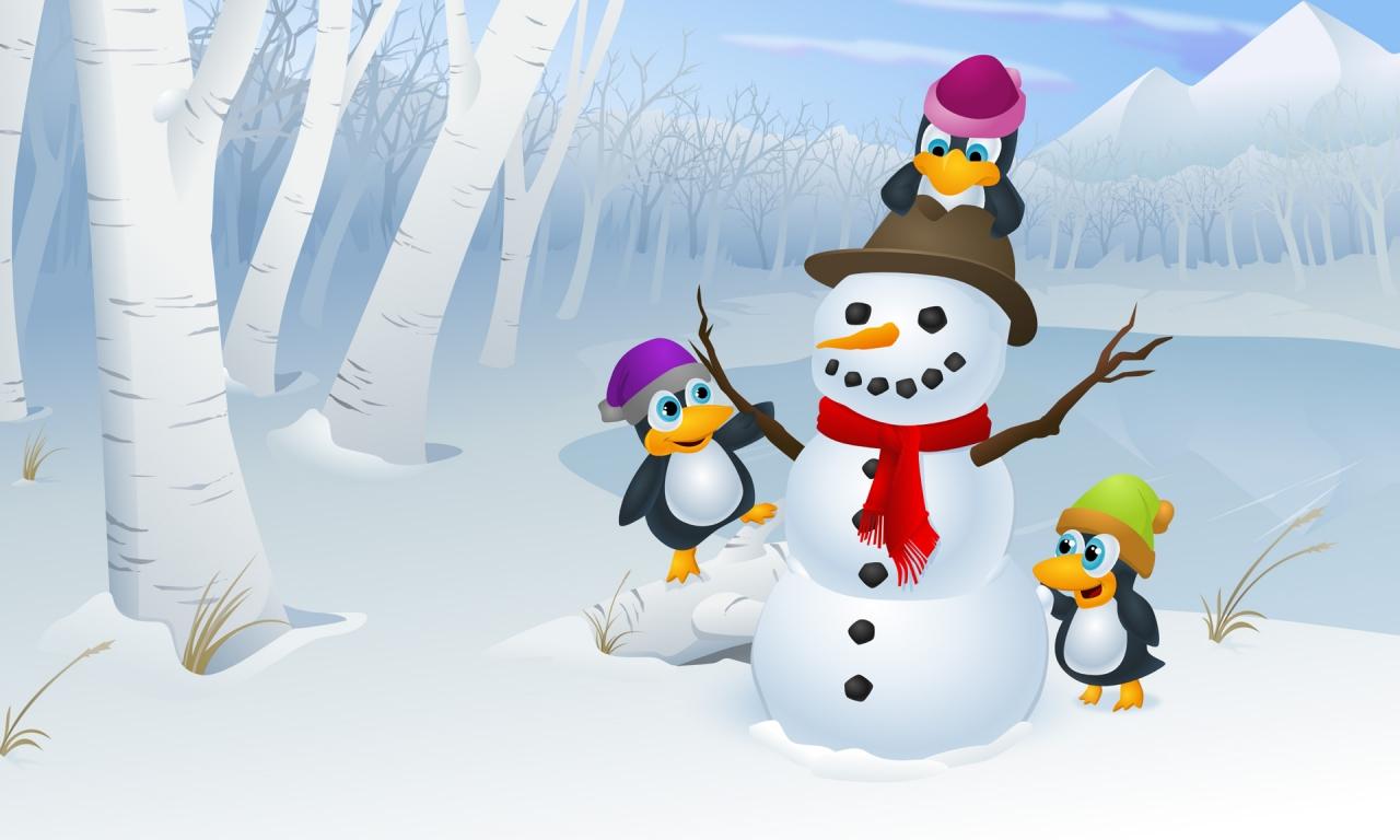 Muñeco De Nieve Dibujo: Dibujo De Muñeco De Nieve Y Pinguinos Hd 1280x768