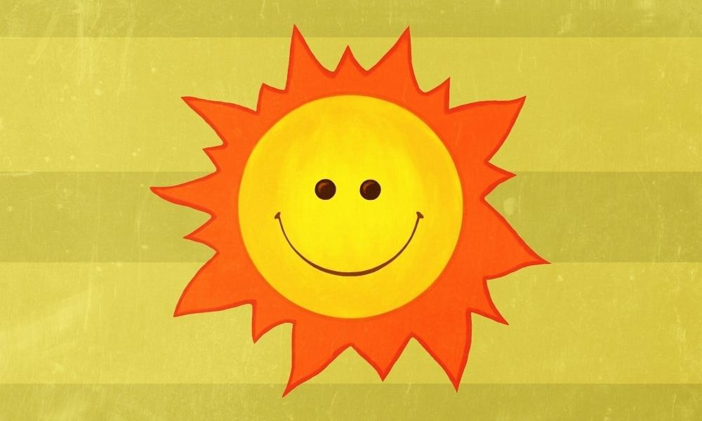 Dibujo del Sol feliz - 1000x600
