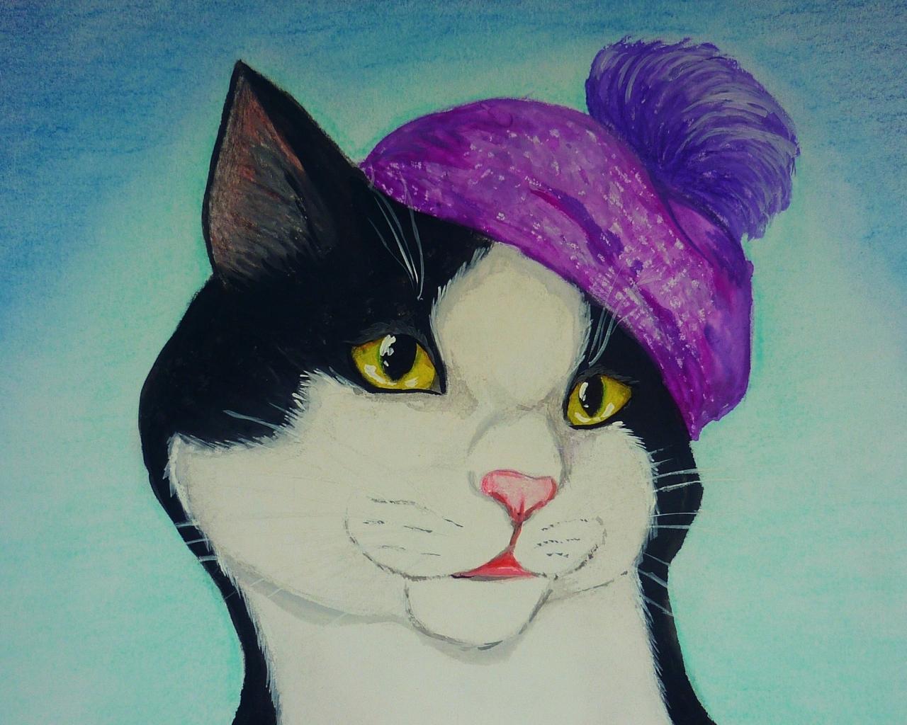Imagen De Dibujo 3d De Gato Para Fondo De Pantalla: Dibujo Y Pintura De Un Gato Hd 1280x1024