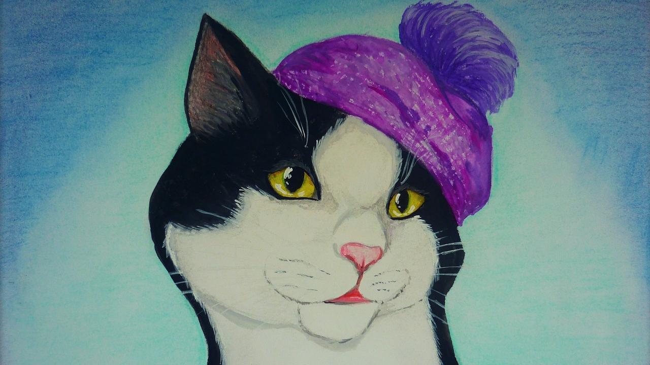 Dibujo y pintura de un gato - 1280x720