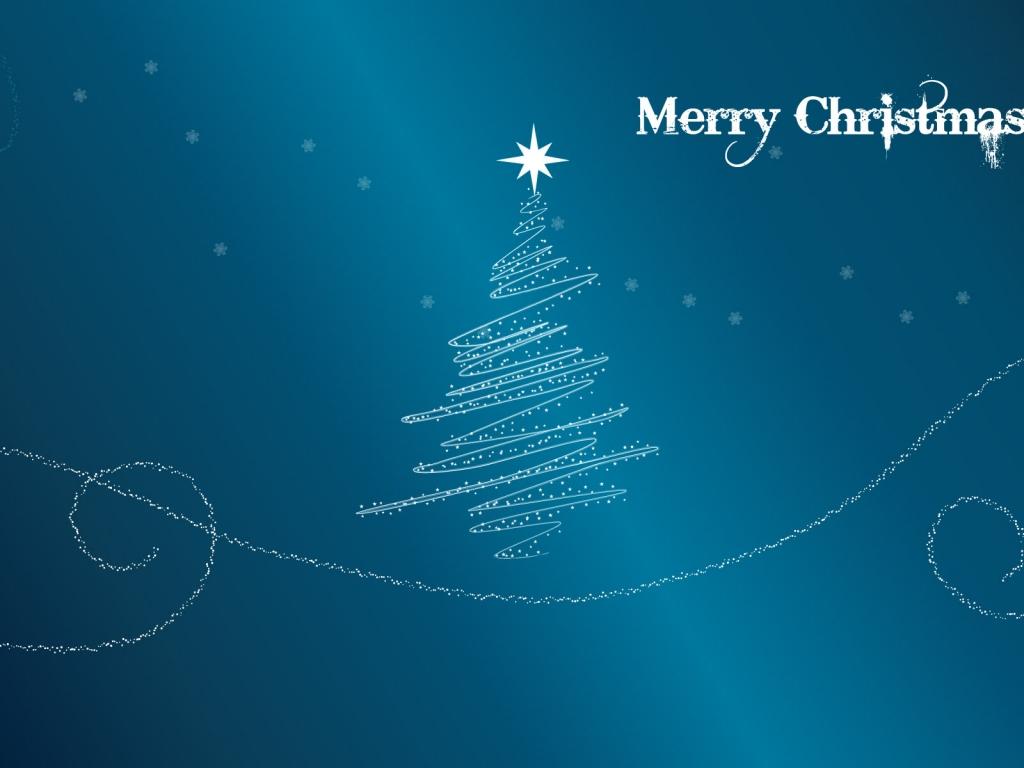 Fondo azul acero con arbol de navidad - 1024x768