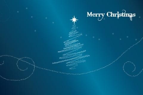 Fondo azul acero con arbol de navidad - 480x320