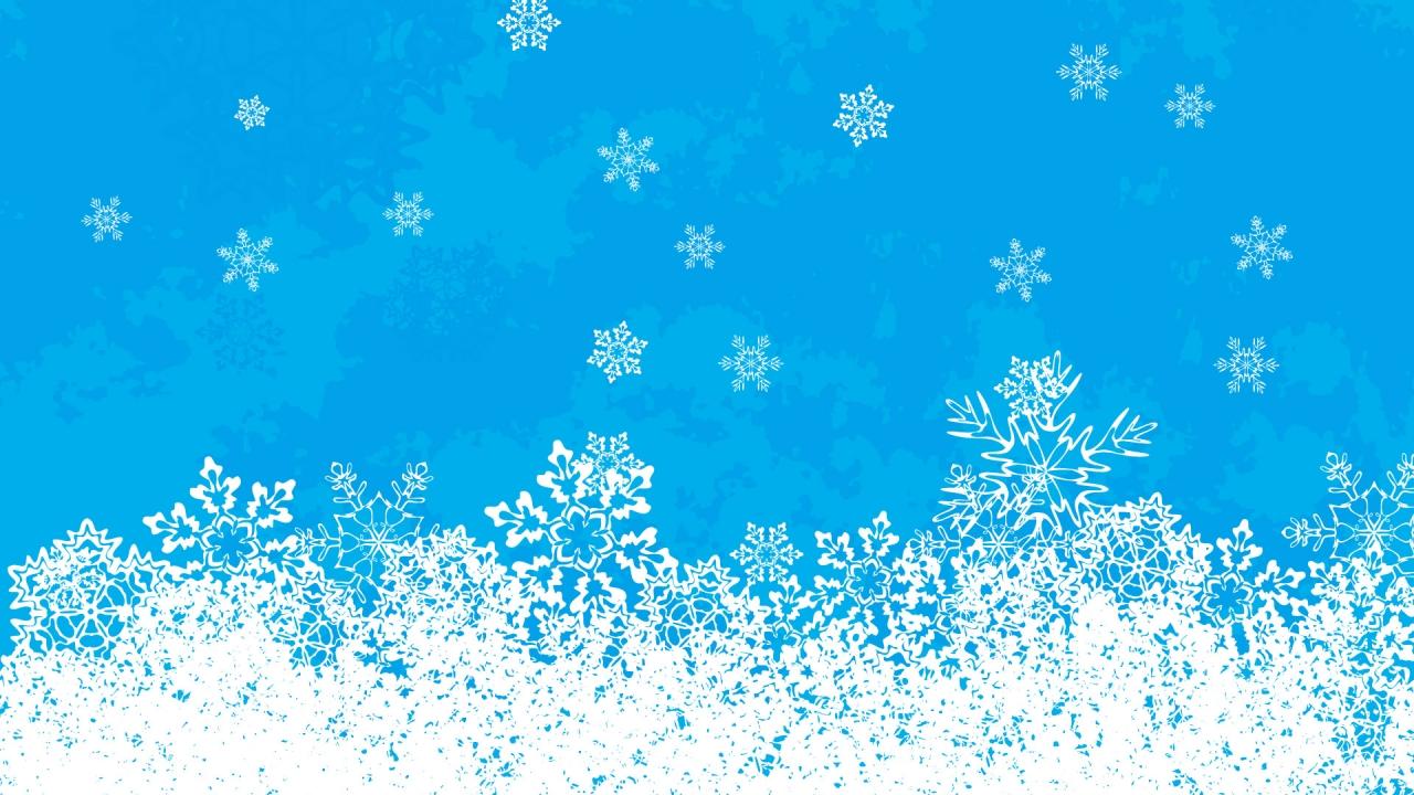 Fondo celeste con nieve en navidad - 1280x720