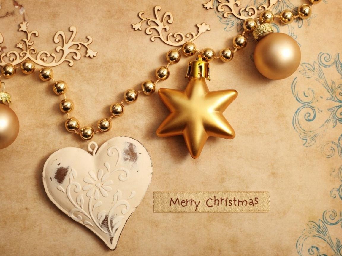 Fondo dorado con adornos de navidad - 1152x864