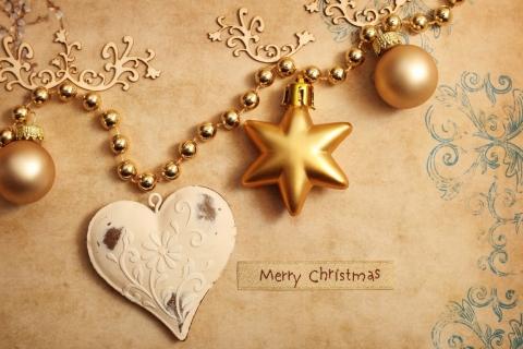 Fondo dorado con adornos de navidad - 480x320