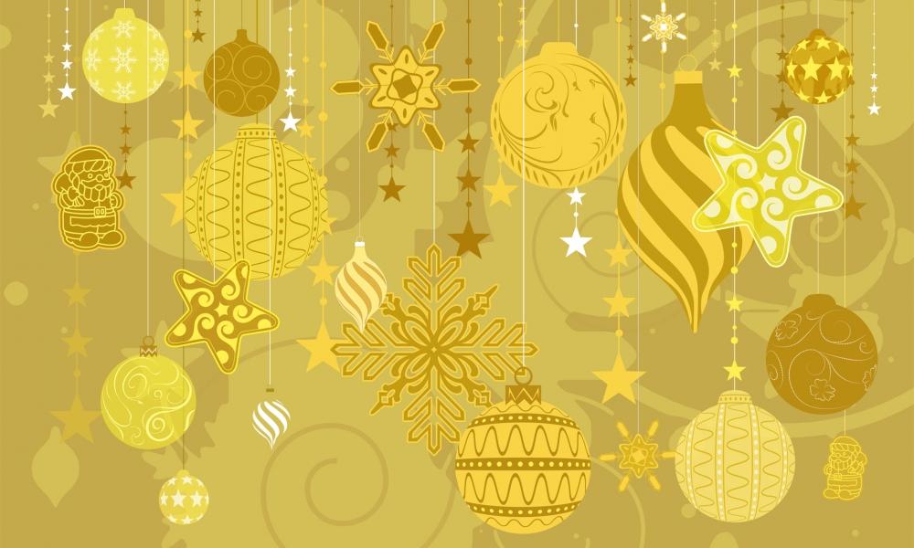Fondo dorado con tema de navidad - 1000x600
