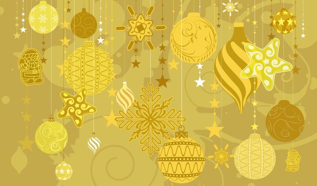 Fondo dorado con tema de navidad - 1024x600