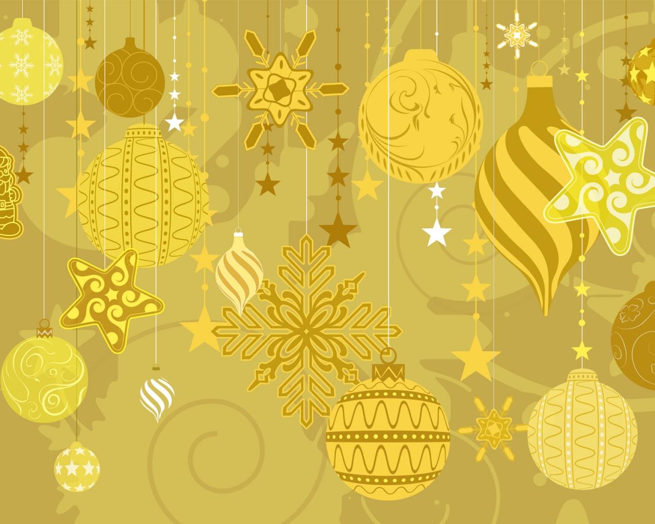 Fondo dorado con tema de navidad - 1280x1024