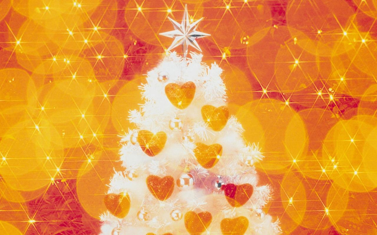Fondo naranja con arbol de navidad - 1280x800