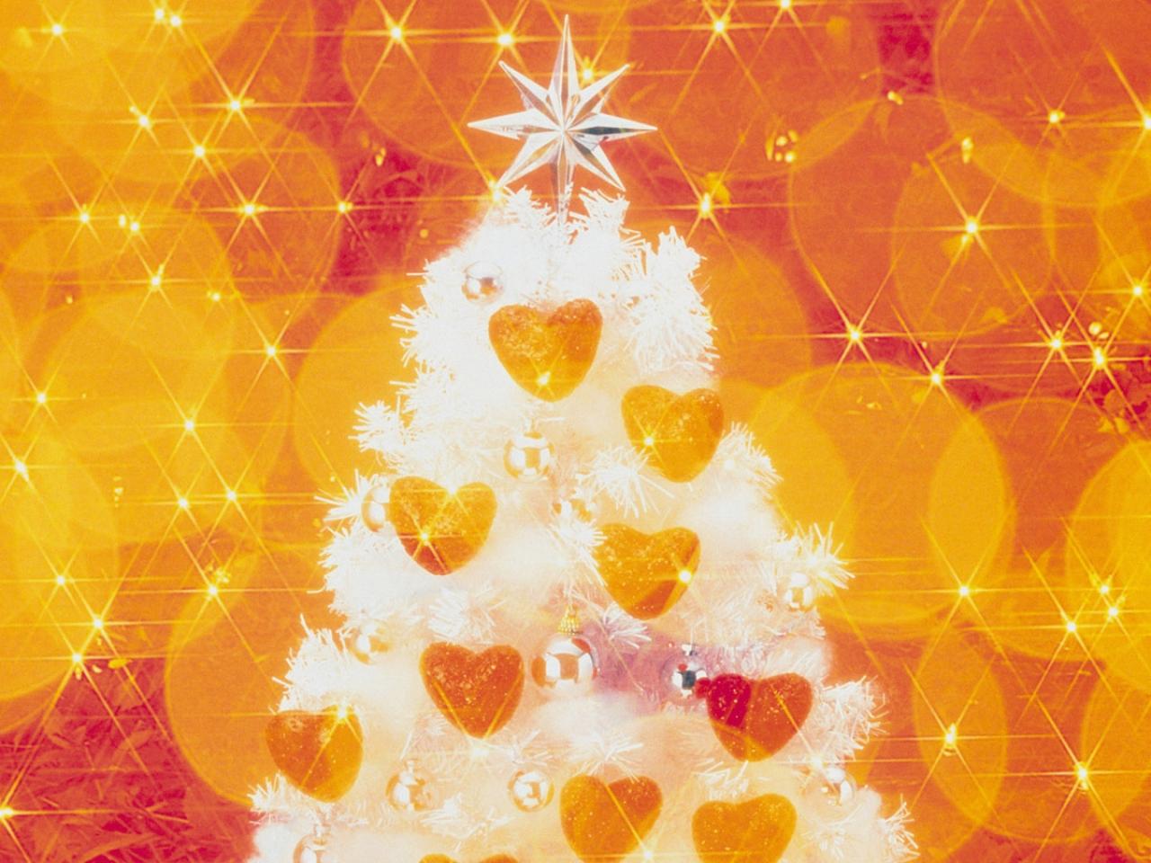 Fondo naranja con arbol de navidad - 1280x960