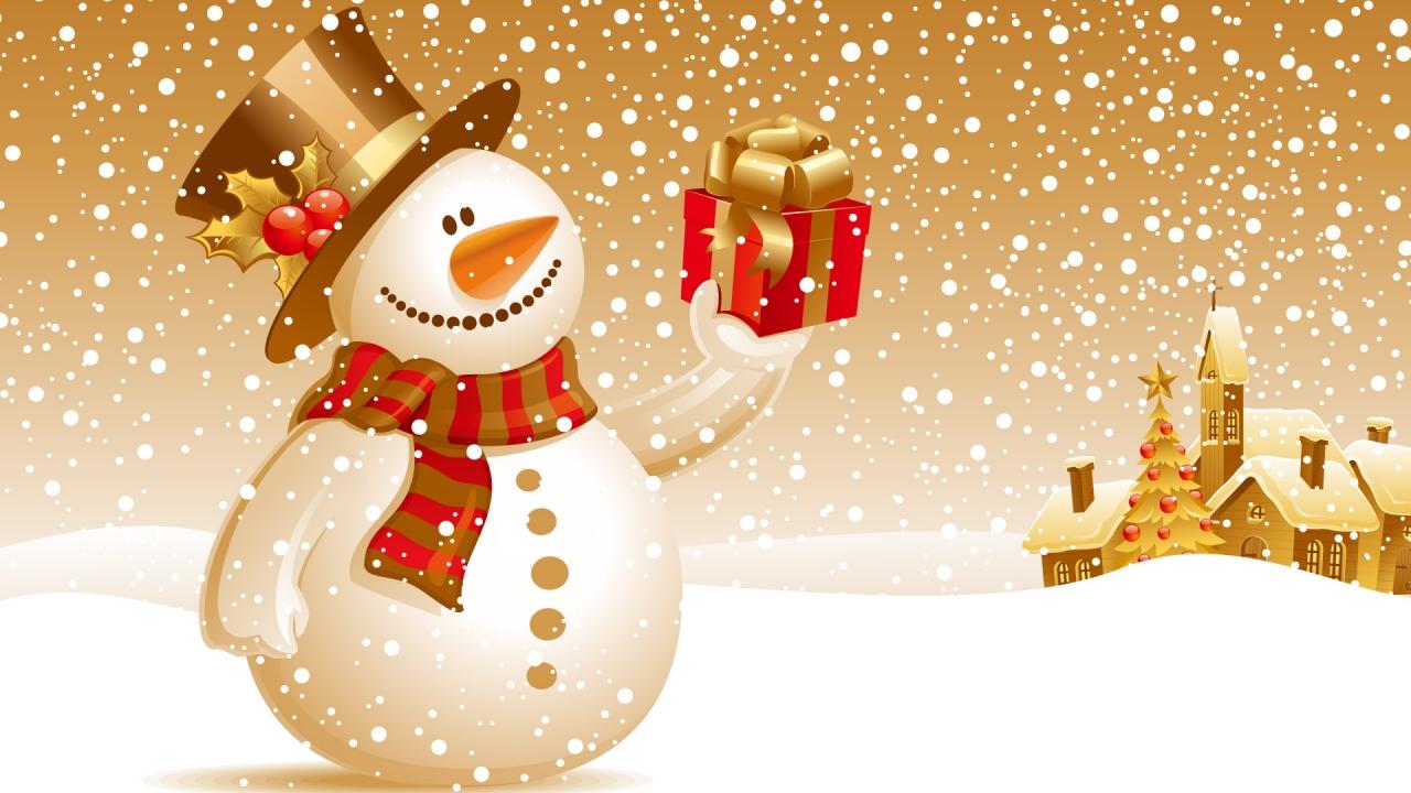 Fondo naranja y muñeco de nieve - 1280x720