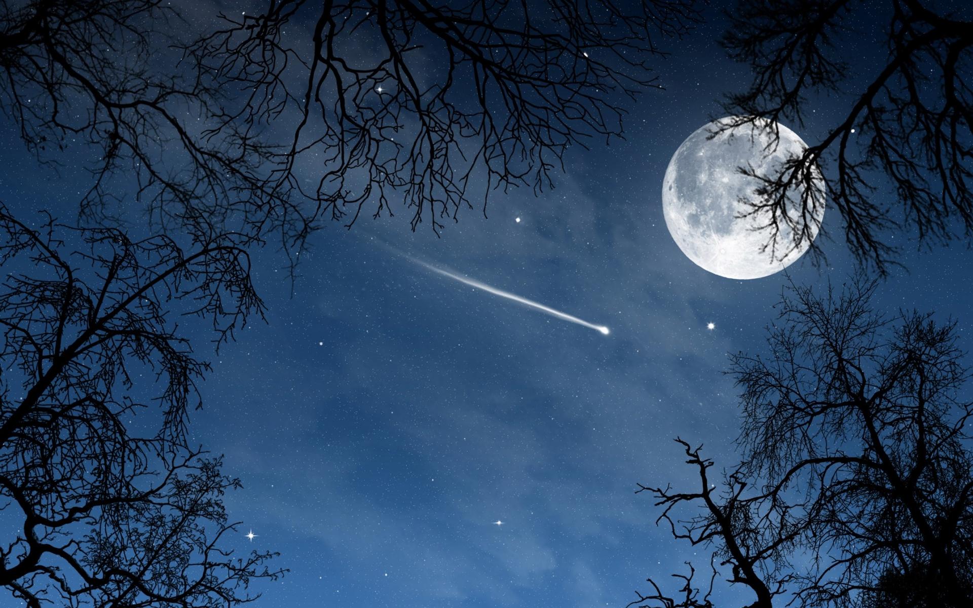 La luna llena y un cometa - 1920x1200