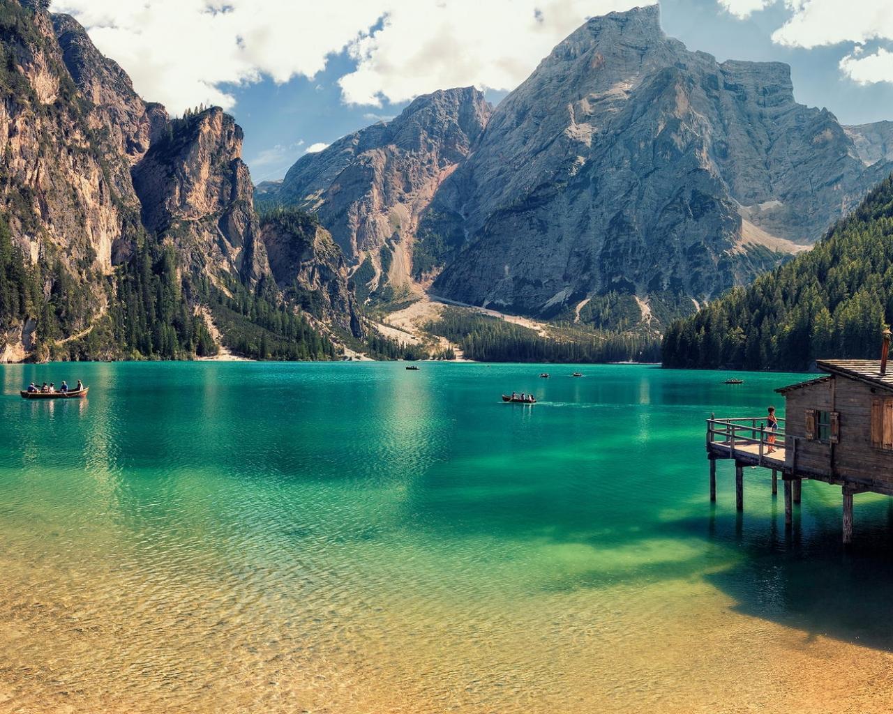 Lago Di Braies de Italia - 1280x1024