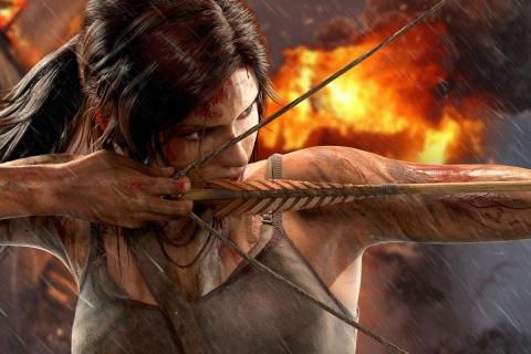 Lara Croft con arco y flecha - 480x320