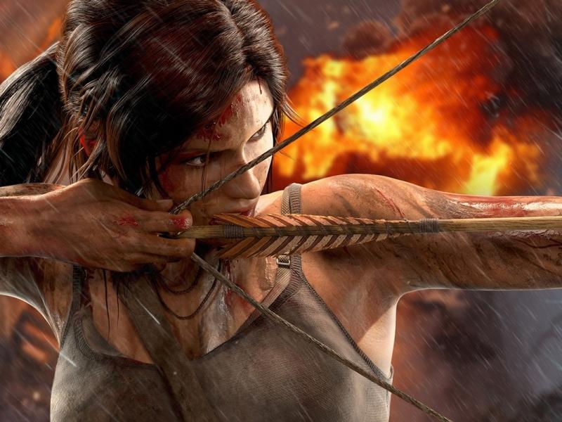 Lara Croft con arco y flecha - 800x600