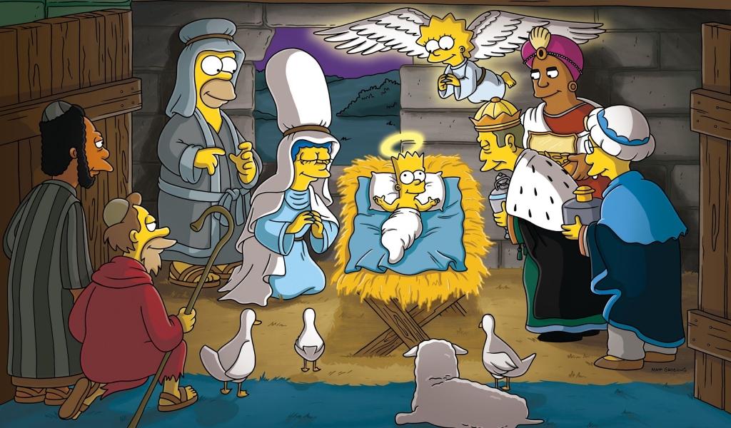 Los Simpsons y el nacimiento en Navidad - 1024x600