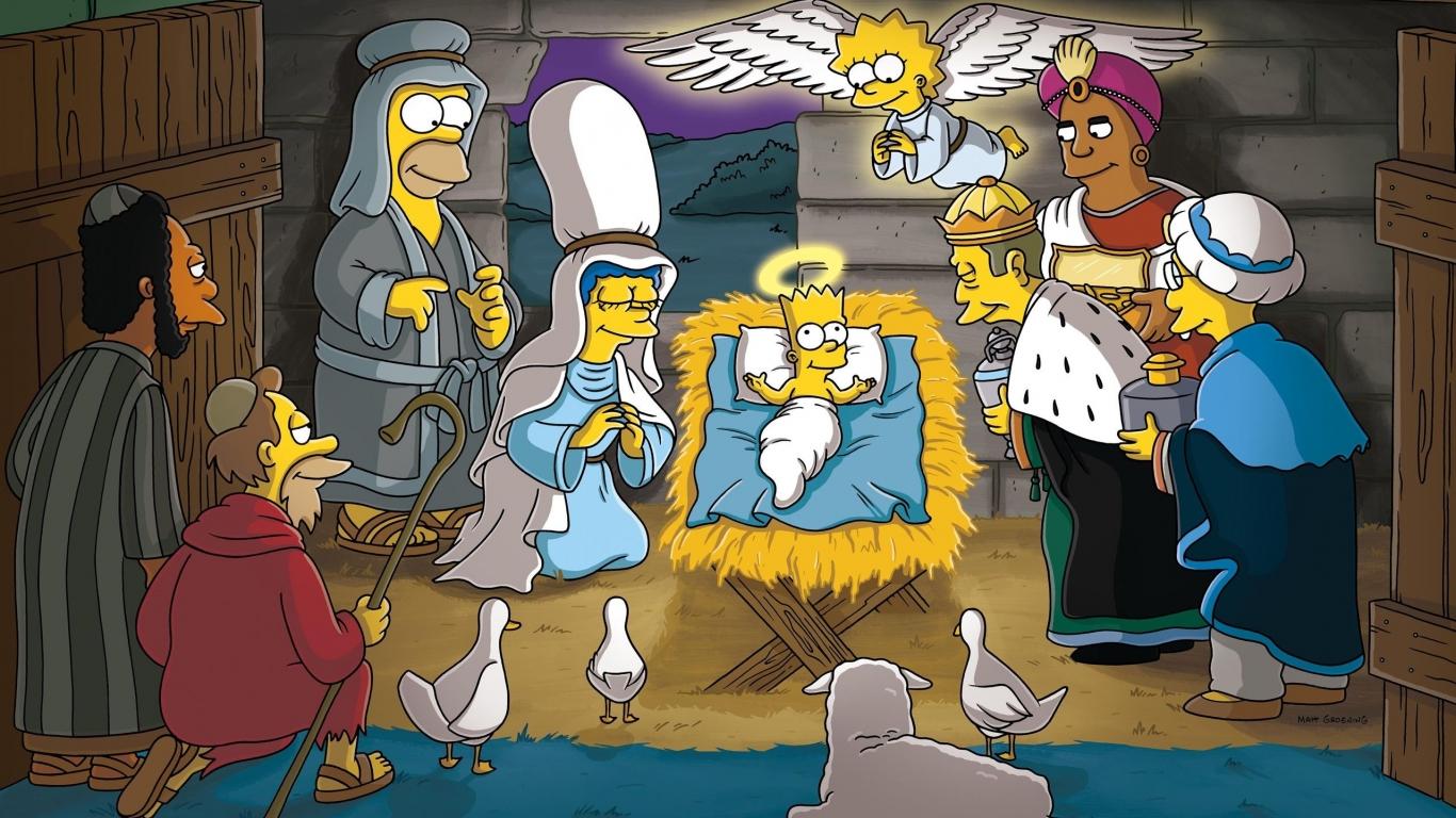 Los Simpsons y el nacimiento en Navidad - 1366x768