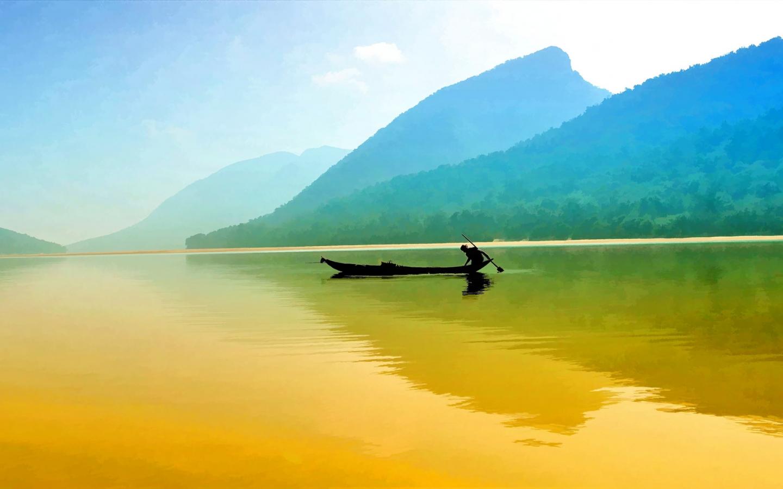 Pesca en un rio - 1440x900