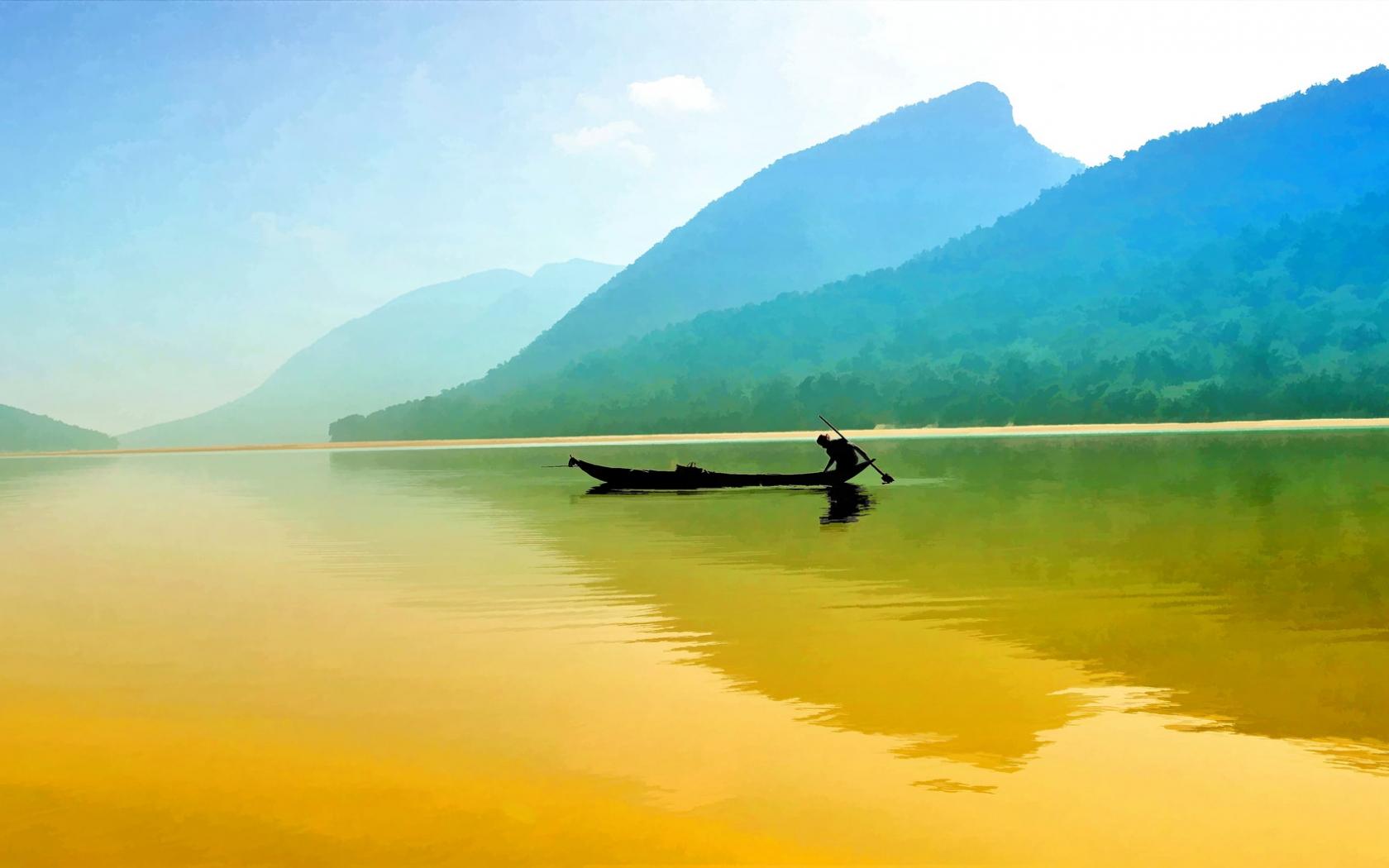 Pesca en un rio - 1680x1050