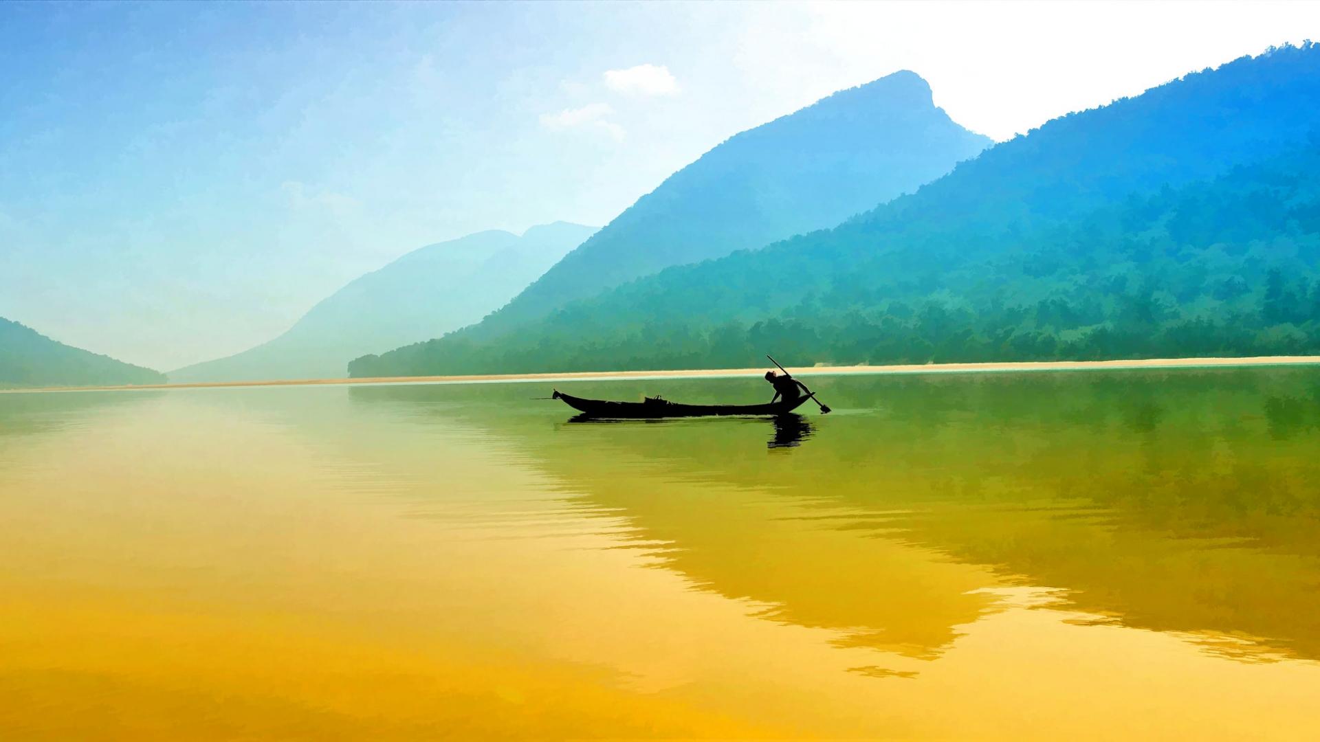 Pesca en un rio - 1920x1080