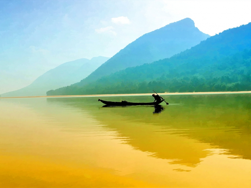 Pesca en un rio - 800x600