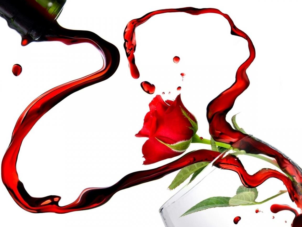 Rosas y vino por San Valentín - 1152x864