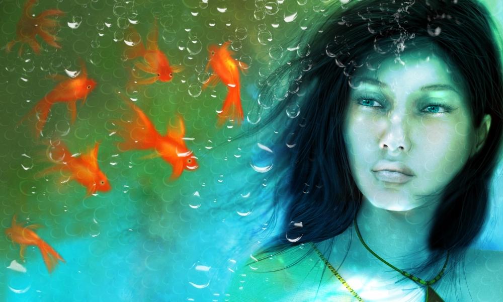 Una chica en un acuario - 1000x600