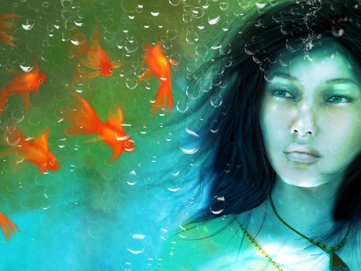 Una chica en un acuario - 1152x864