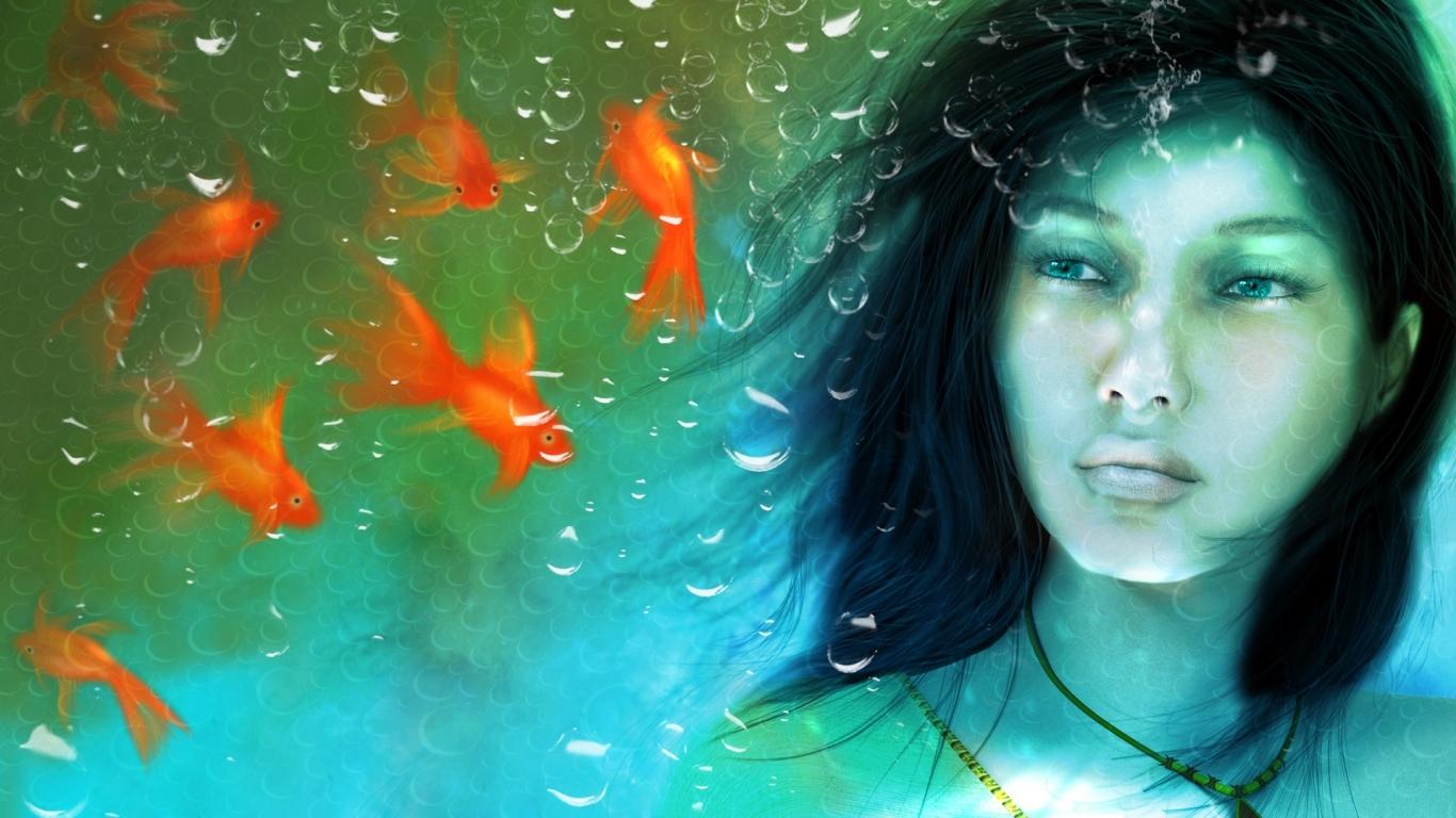Una chica en un acuario - 1366x768
