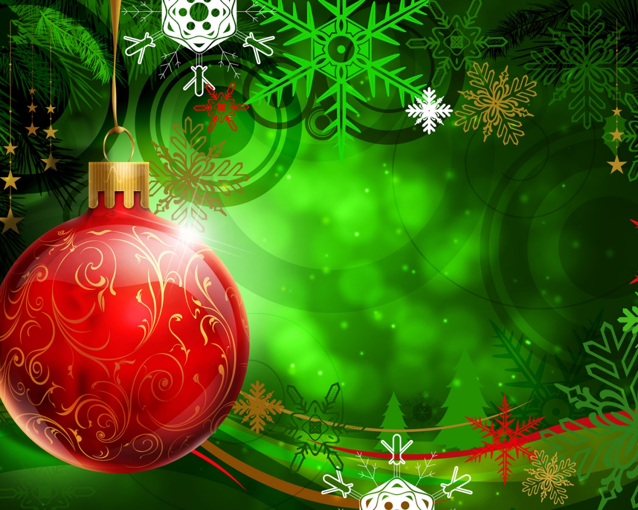 Una esfera roja en arbol de navidad dibujo - 1280x1024
