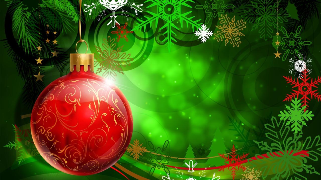 Una esfera roja en arbol de navidad dibujo - 1280x720