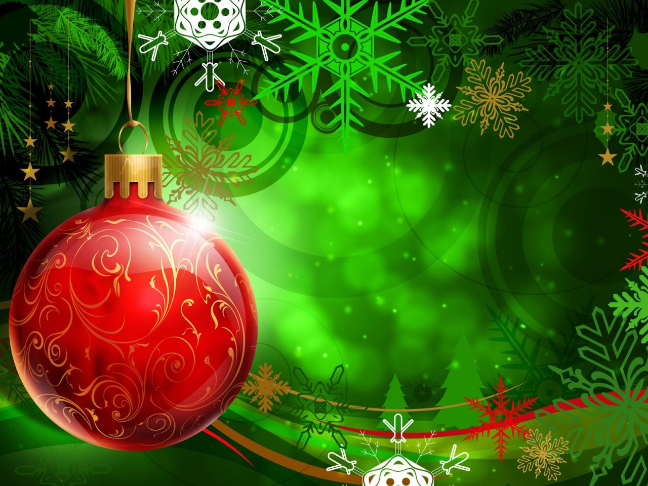 Una esfera roja en arbol de navidad dibujo - 1280x960