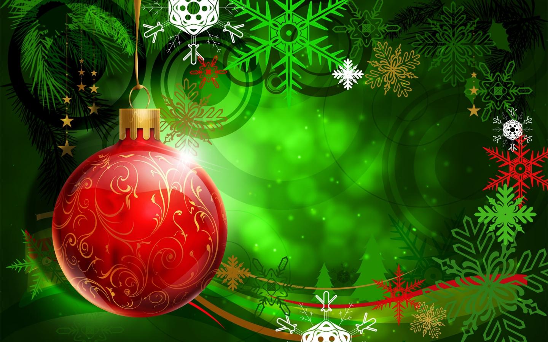 Una esfera roja en arbol de navidad dibujo - 1440x900